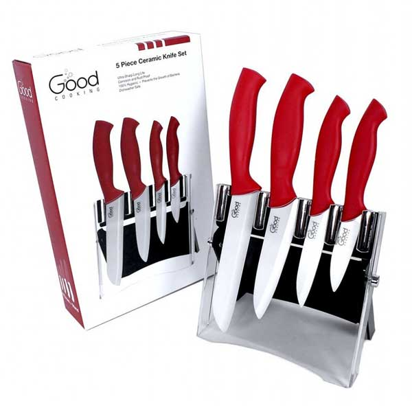 Good Cooking Red 4-piece Ceramic Knife Set